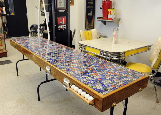 "Protable ""Beer Pong"" Table built from reclaimed wood and beer caps!"