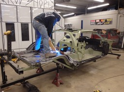 1971 Hemi Cuda - Shawn and Gordon welding in first panel (floor)!