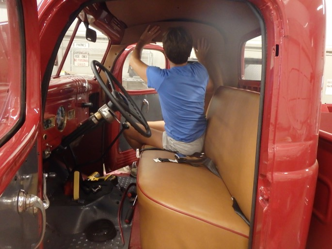 1947 Dodge Power Wagon - interior assembly.  Interior by Schellart's Upholsterty